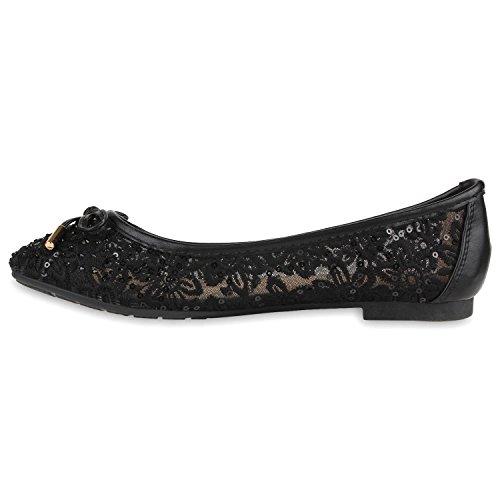 Damen Ballerinas | Slipper Flache Schuhe | Spitze Häkeloptik | Feminine Slip-ons | Stoffschuhe Strass Metallic Schwarz Schleife