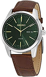 Seiko Dark Green Sunray Dial Solar Powered Men's Watch SN
