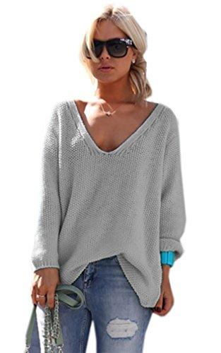 Schöner Sommer Sexy Pullover mit V-Ausschnitt Pulli viele schöne Farben Urlaub EinheitsgrößeS/M (617) (Grau)