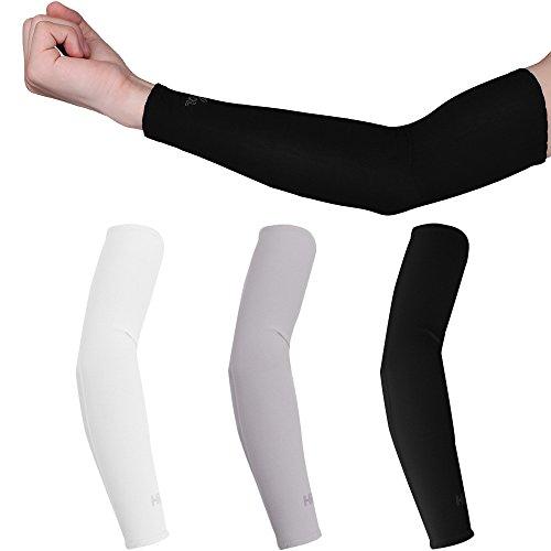 ONEVER 1 Paar UV-Schutz Cooler Arm Sleeves für Laufen Rad Wandern Golf Tennis Fu?Ball Fahren Angeln -Schwarz