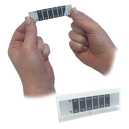 6x Steroplast Erste Hilfe Baby Fieber Kälte verwendbar zuverlässig Temperatur Stirn Streifen Test Thermometer
