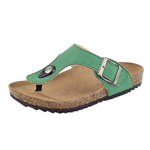 Tookang unisex bambini estate pantofole di sughero dito del piede separatore traspirant confortevole ciabatte infradito fondo in gomma antiscivolo verde-31(lunghezza 20.4 cm)