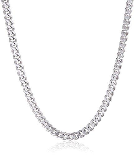 MATERIA Panzerkette Silber 925 diamantiert - 3mm Halskette Damen Herren silber in 40 45 50 60 70 80 cm #K27, Größe:50cm