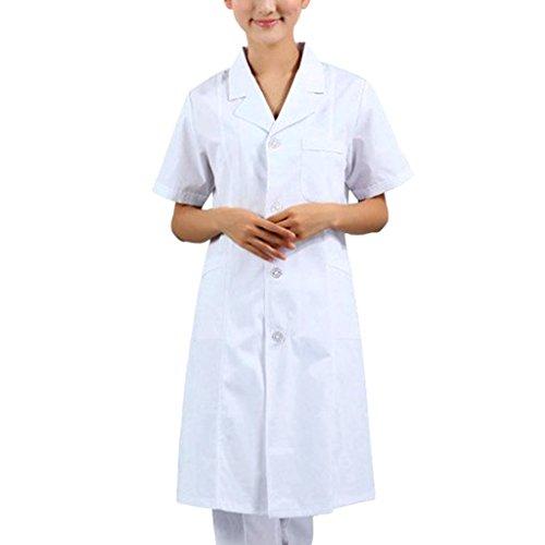 Gazechimp Männer Damen Kurzarm Weiß Berufsbekleidung Labormantel Laborkittel Ärztin Krankenschwester Uniform - Weiß damen, (Krankenschwester Uniform)