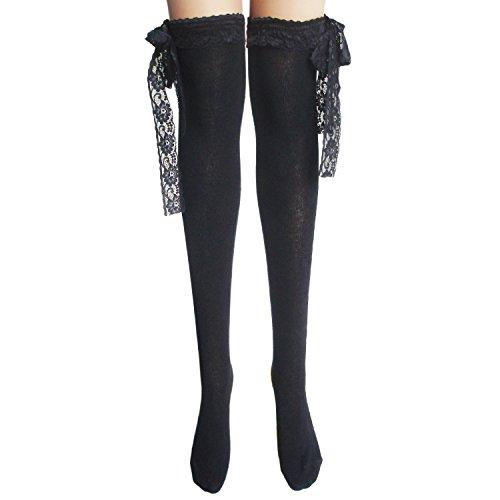 JHosiery Señoras medias de algodón con encaje (negro #2)