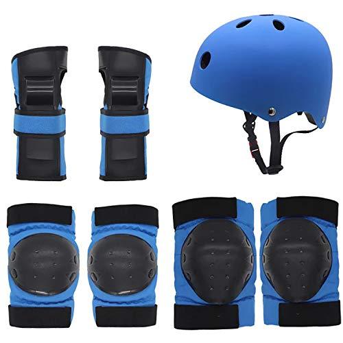 Hxyt Kinder-Helm-Set, Extremsport-Helm für Kinder im Freien, Schutzkleidung, 7-teilig, für Roller/Fahrräder/Rollschuhe/Balance-Car usw,Blue,M