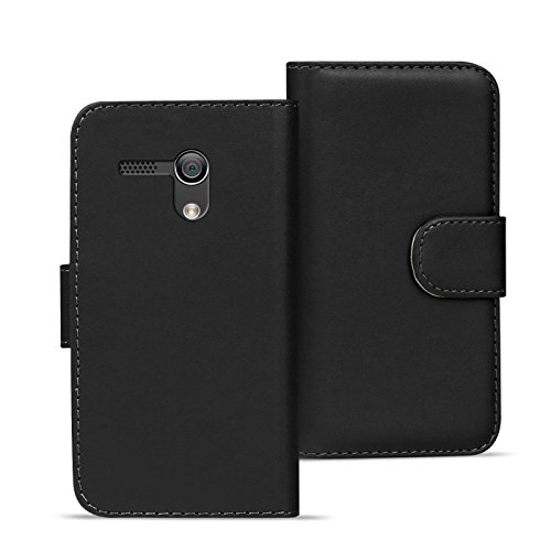 Verco Moto G1 Hülle, Handyhülle für Motorola Moto G 1 Gen. Tasche PU Leder Flip Case Brieftasche - Schwarz