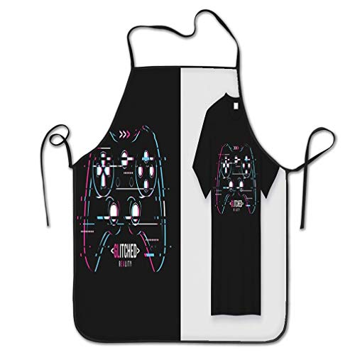 sdfwerweq Funny Personality Apron stylish Apparel trendy Design Glitchy Gamepad Typography Print global swatches Chef Kitchen Aprons 20.4 * 28.3 inch