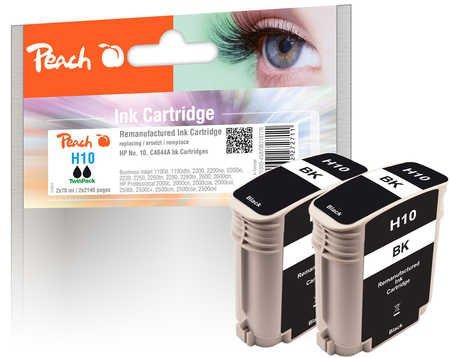 Peach PI 300-458-Cartuccia d'inchiostro per HP Nr. 10, C4844A, colore: nero (confezione da 2)