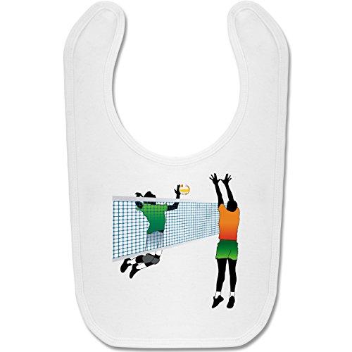 Sport Baby - Volleyballspieler Netz Angriff Verteidigung - Unisize - Weiß - BZ12 - Baby Lätzchen Baumwolle