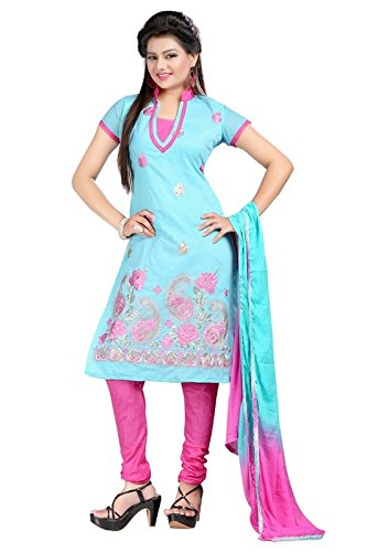 I-Brand Sky Blue Color Chanderi Fabric Embroidered With Stonework Salwar - Suit (Semi-Stitched) ( New Arrival Latest Best Design Beautiful Dresses Material Collection For Women and Girl Party wear Festival wear Special Function Events Wear In Low Price With High Demand Todays Special Offer and Deals with Fancy Designer and Bollywood Collection 2017 Punjabi Anarkali Chudidar Patialas Plazo pattern Suits )  available at amazon for Rs.367