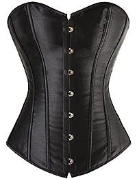 c47b2cb874 BLF Women Satin Plain Pure Black Bustier Top Burlesque Basque Shaper Boned  Corset
