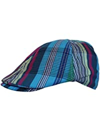 Mens Flat Cap Hat Country Check Print in Turquoise Blue