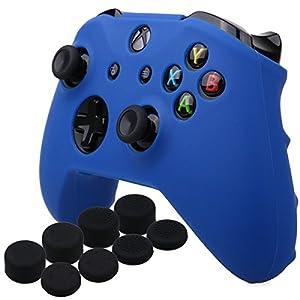 YoRHa Silikon Hülle Abdeckungs Haut Kasten für Microsoft Xbox One X & Xbox One S-Controller x 1 (blau) Mit Pro aufsätze Thumb Grips x 8