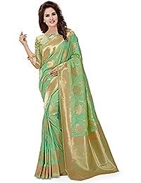 Soru Fashion Banarasi Silk Saree (Cott-662_Light Green_Free Size)