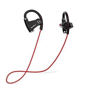 Auricolari Bluetooth, E3 Cuffie IPX6 Impermeabile Sportivi Wireless, Cuffia Bluetooth 4.1 Stereo HD Senza Fili, con CVC6.0 Cancellazione del Rumore Mic, 10 Ore di Autonomia della Batteria (Rosso)
