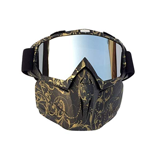 BESPORTBLE Retro Goggles Motorradhelm Reitmaske Motorradbrille Windschutzscheibe Fahrt Elektrische Off-Road-Brille (Kupfer Blume Rahmen Mercury Film)