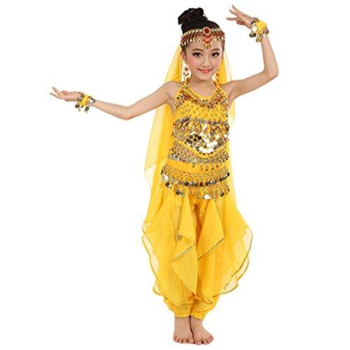 Kostüm Gelb Tanz (Hunpta Handgemachte Kinder Mädchen Bauchtanz Kostüme Kinder Bauchtanz Ägypten Tanz Tuch (140-155CM,)