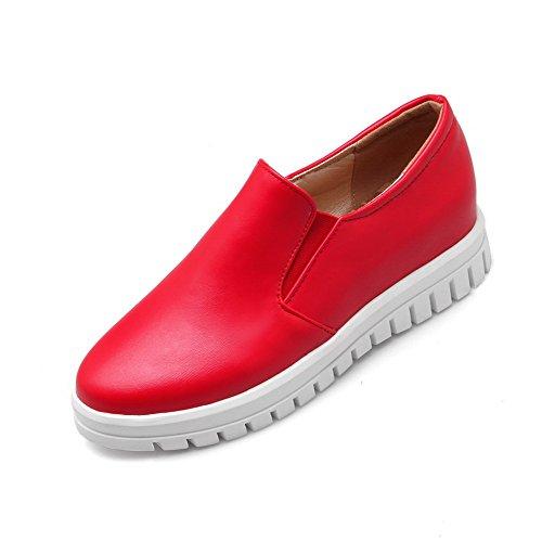 VogueZone009 Femme Matière Souple Tire Rond à Talon Bas Couleur Unie Chaussures Légeres Rouge