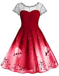 JUSTSELL ▾ Frauen Sommer Herbst Elegant Rundhals Kurze /Ärmel Spitzenkleid Knielang Kleid Cocktailkleider Abend Prom Kleid Party