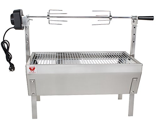 Beeketal Spießbratengrill 'SGB-8' Spießgrill mit Grillmotor für Hähnchen oder Rollbraten mit 5-fach höhenverstellbarem Drehspieß für bis zu 4 kg Grillgut, Holzkohlegrill mit 60 x 31,5 cm