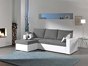 Bestmobilier - Arizona - Canapé d angle convertible réversible 4 places - 225 x 145 x 85cm - Blanc/Gris