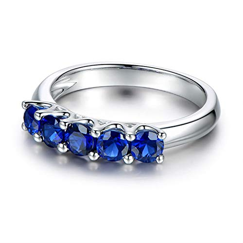 Anello fidanzamento donna argento 925 blu zirconi anello fedina argento donna misura 11