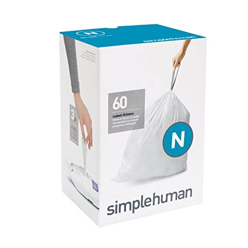 simplehuman Code N Plastic Custom Fit Bin Liner, Pack of 60, White