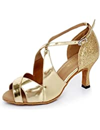 JSHOE Frauen PU Latin Salsa Tanzschuhe Salsa/Tango/Tee/Samba/Modern/Jazz Schuhe Sandalen High HeelsWhite-heeled75cm-UK4