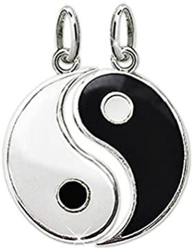 CLEVER SCHMUCK 2 Silberne Partneranhänger geteilt Yin Yang Ø ca. 15 mm schwarz und weiß lackiert glänzend STERLING...