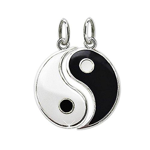 berne Partneranhänger geteilt Yin Yang Ø ca. 15 mm schwarz und weiß lackiert glänzend STERLING SILBER 925 ()