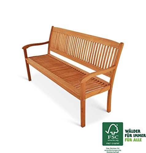 SAM Gartenbank Maracaibo aus Akazienholz, FSC 100% zertifiziert, 157 cm breit, 3-Sitzer Holzbank, geölt, Gartenmöbel aus Holz für Terrasse & Balkon