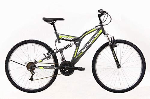 Schiano Rider anthrazit-grün 26 Zoll MTB Fully Jugendrad Mountainbike 18 Gang Jungen Mädchen Fahrrad vollgefedert