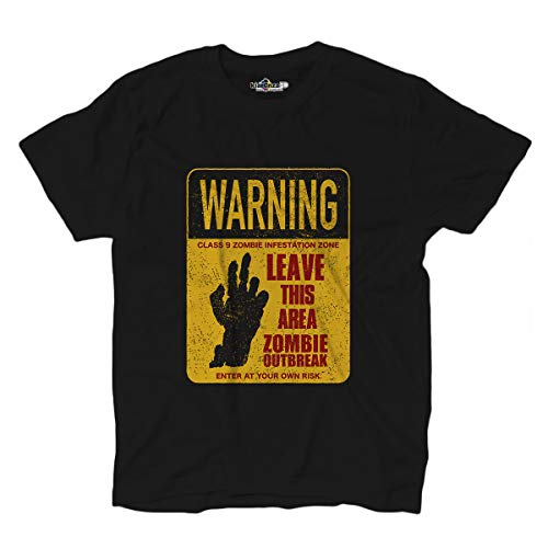 KiarenzaFD Zombie Outbreak Horror Infestation Zone Dead Warning Shirts T-Shirt, KTS02552-M-black, schwarz, M