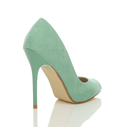 Damen Hohen Absatz Arbeit Party Grund Peep Toe Schuhe Pumps Sandalen Größe Tadellose Grüne Wildleder