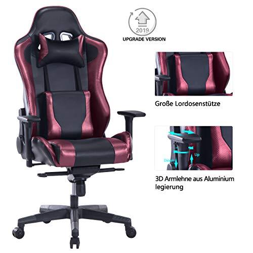 Wolmics Gaming-Stuhl mit großem Lendenkissen,180 kg kelastbarkeit Computerstuhl Schreibtischstuhl Rennstil Ergonomisches Design Bürostuhl PU-Leder Drehstuhl Chefsessel WS238-1