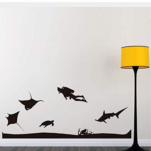 Ljtao Taucher Und Alle Arten Seefisch Tiere Meeresboden Wandaufkleber Für Wohnzimmer Diy Wohnkultur Pvc Abnehmbare Kinderzimmer Wand Decal81X58Cm