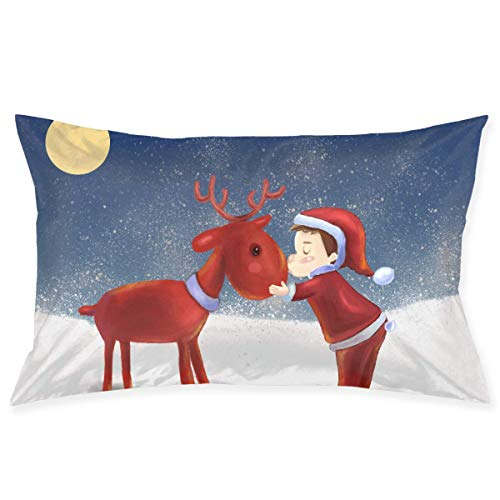 Jxrodekz Boy Kiss Christmas Deer Pillowcase Microfiber Bedroom Throw Pillow Cover with Zippered 20x30Inches Size