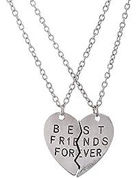 "lureme® Europen Estilo Plata Tone Aleación Corazón Shaped with ""Best Friend Forever"" Twin Necklaces (01003575)"