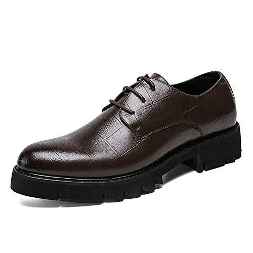 HILOTU Herren Business Oxfords Casual Klassisch Spitz Gummi Laufsohle Komfortable Höhe Formelle Kleidung Schuhe (Color : Braun, Größe : 41 EU)