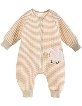 LifeWheel Baumwolle Baby Winter Schlafsack Kinderschlafsack mit Langarm und Füßen Für 6-60 Monate