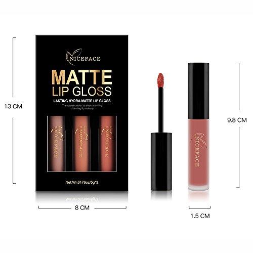 Rechoo Beauty Sexy 3PCS/set Non-stick Cup Waterproof Lipgloss Matte Liquid Lipstick Long Lasting Lip Gloss Matte Lipstick Style D