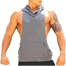 areshion hombre muscular corte Bodybuilding sudadera con Stringer gimnasio camiseta de tirantes espalda cruzada camiseta de sudadera con capucha
