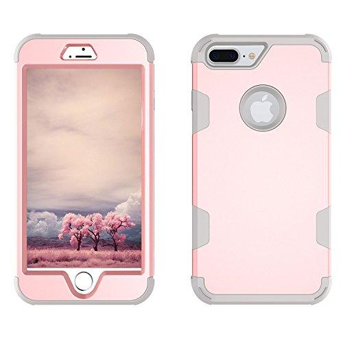 Custodia per Apple iPhone 7 in Plastica Dura Rigida, Girlyard 3 in 1 Hard PC Ultra Slim Protettiva Posteriore Copertura Bumper Antiurto Antigraffio Case Cover per iPhone 7 4.7 Disegni Oro Nero Oro Rosa Rosa