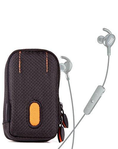 DURAGADGET Housse étui Noir/Orange pour écouteurs HiFi Walker A1, Jabra Elite 45e, Elite 65t et Elite Active 65t, résistant à l'Eau et Passant de Ceinture - Garantie 2 Ans