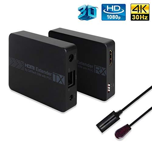 HDMI Extender, edola 50m HDMI Extender Splitter mit IR-Fernbedienung HDMI über CAT5 / 6/7 Extender HDMI Splitter mit 2 Anschlüssen HD 1080P HDMI Ethernet Extender Sender und Empfänger anschließen Ir Über Cat5