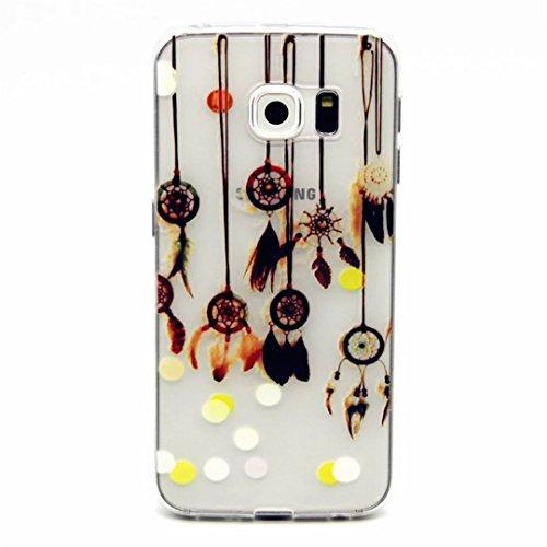 MUTOUREN Handyhülle für Samsung Galaxy S6 Edge TPU Silikon Case Cover Durchsichtig Schutzhülle Tasche Etui Bumper Ultradünne Weich Kratzfeste Soßdämpfende Silikontasche Hülle Weiß - Anhänger Campanula