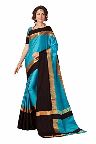 PerfectBlue Cotton Silk Saree With Blouse Piece (Firoziblackvisva_Firozi_Free Size)