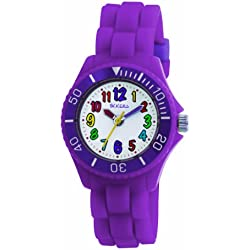 Tikkers Kids Purple Rubber/Silicone Strap Watch with Bright Funky Coloured Numbers TK0010