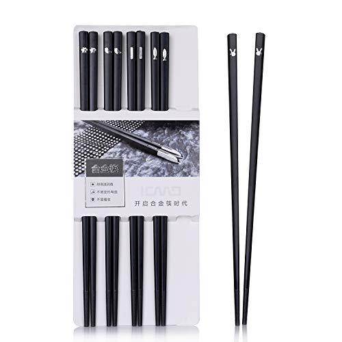 Japanische EssstäBchen 5 Paar Alloy Chopsticks Wiederverwendbare EssstäBchen Waschbar FüR GeschirrspüLer Geschirr Set Mit LuxuriöSe Schwarz Handgemachte 5 Stil Cute (C4)